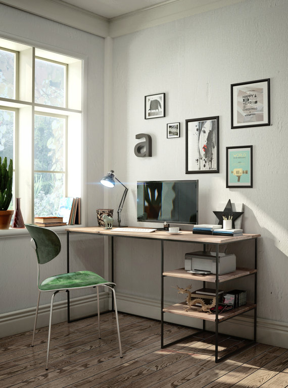 DIY Stained Wooden Desk