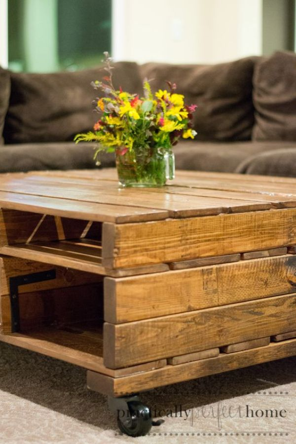 DIY stained wood coffee table