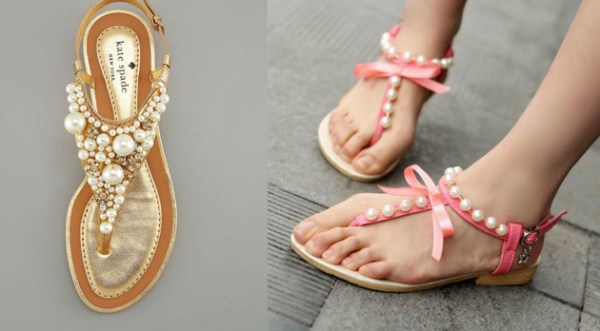 DIY Pearls Sandals