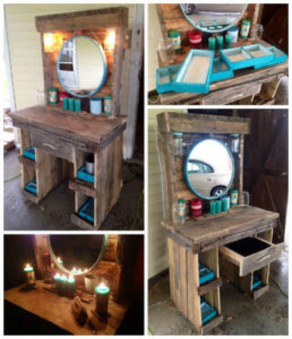 DIY pallet mirror table