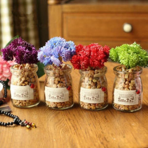 DIY Stone Decorated Jars
