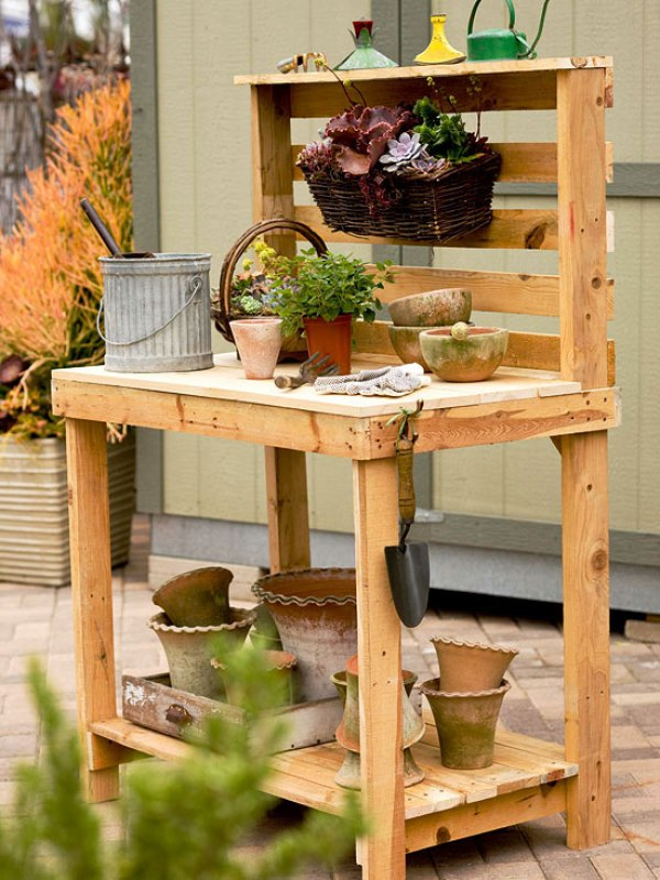 rustic wooden potting bench