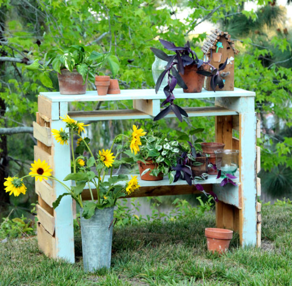 rustic wood potting bench