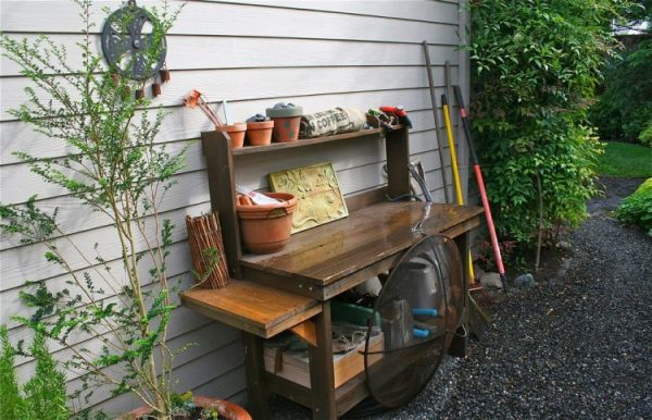 space saving potting bench