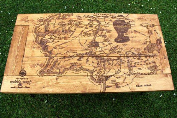 handmade industrial wood coffee table