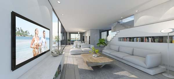 modern floating home interior
