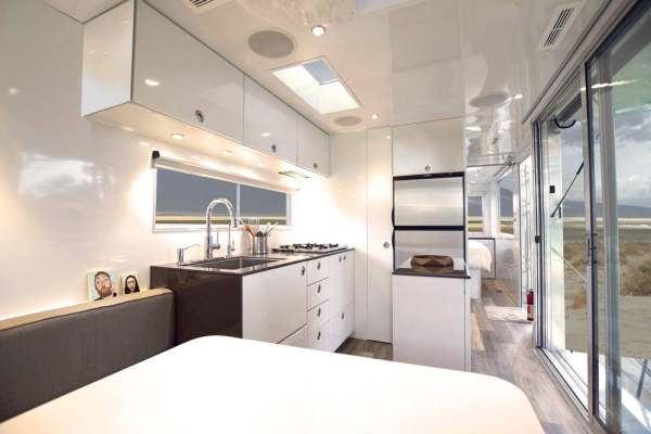 interior of off grid mobile home