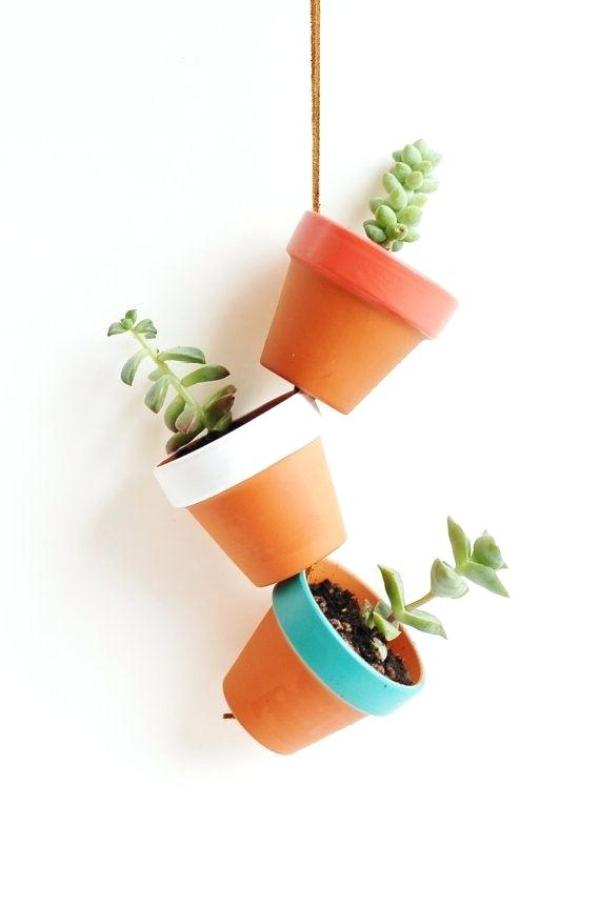 diy hanging clay pots