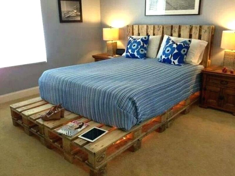 DIY Pallet Frame Double Bed With Lights