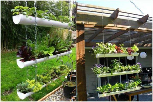 hanging gutter planter DIY ideas