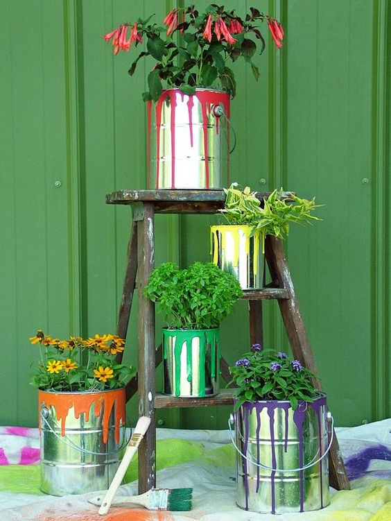 recycle old paint cans for planters