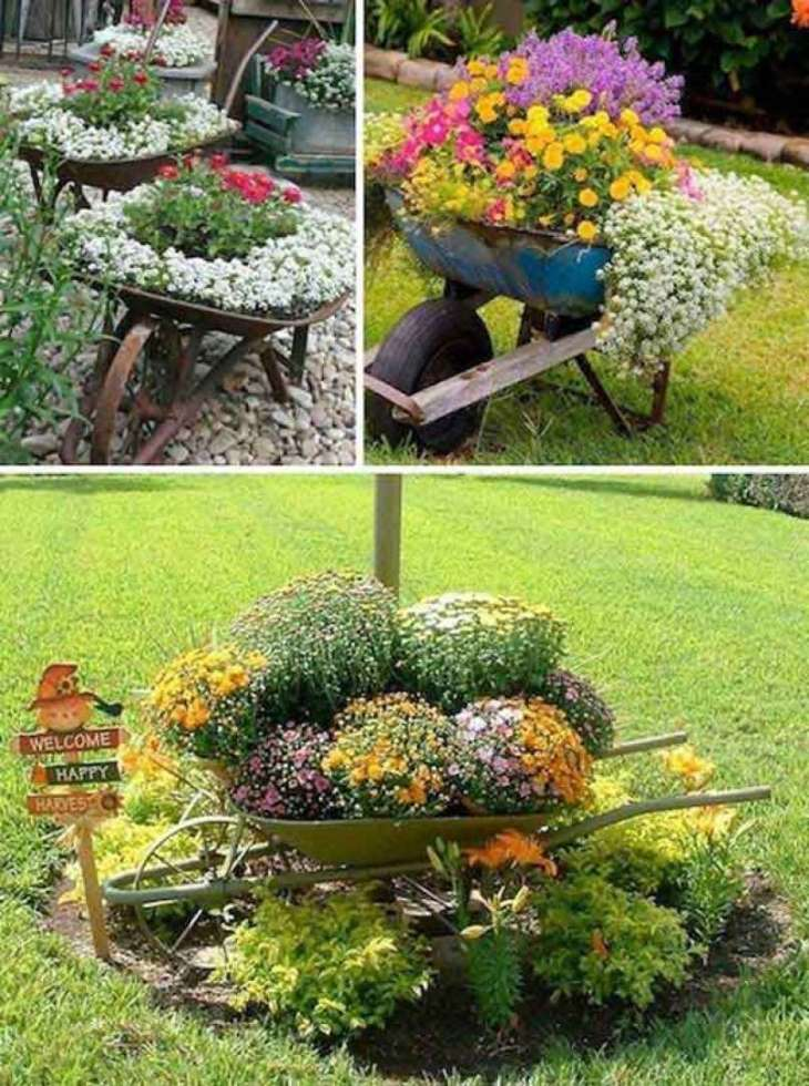 wheelbarrow planter ideas