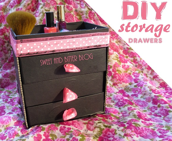 DIY drawer storage using beauty box daily use