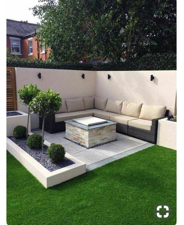 modern backyard seating plan