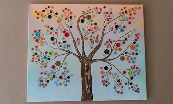 BUTTON ART TREE A KIDS CRAFT
