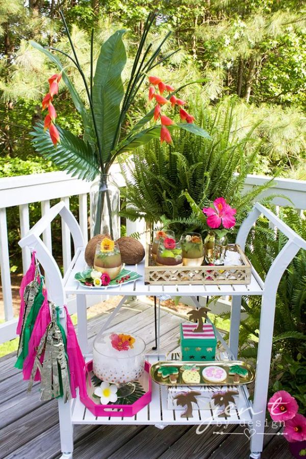 how to style a tropical bar cart