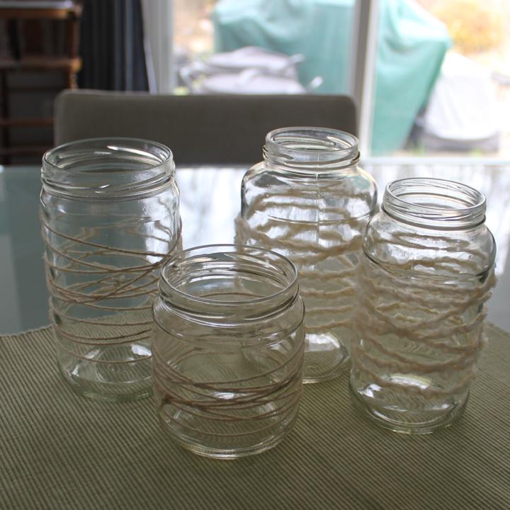Yarn Wrapped Jars