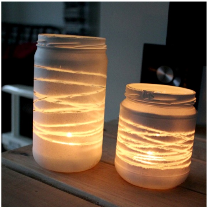 Yarn Wrapped Light Jars