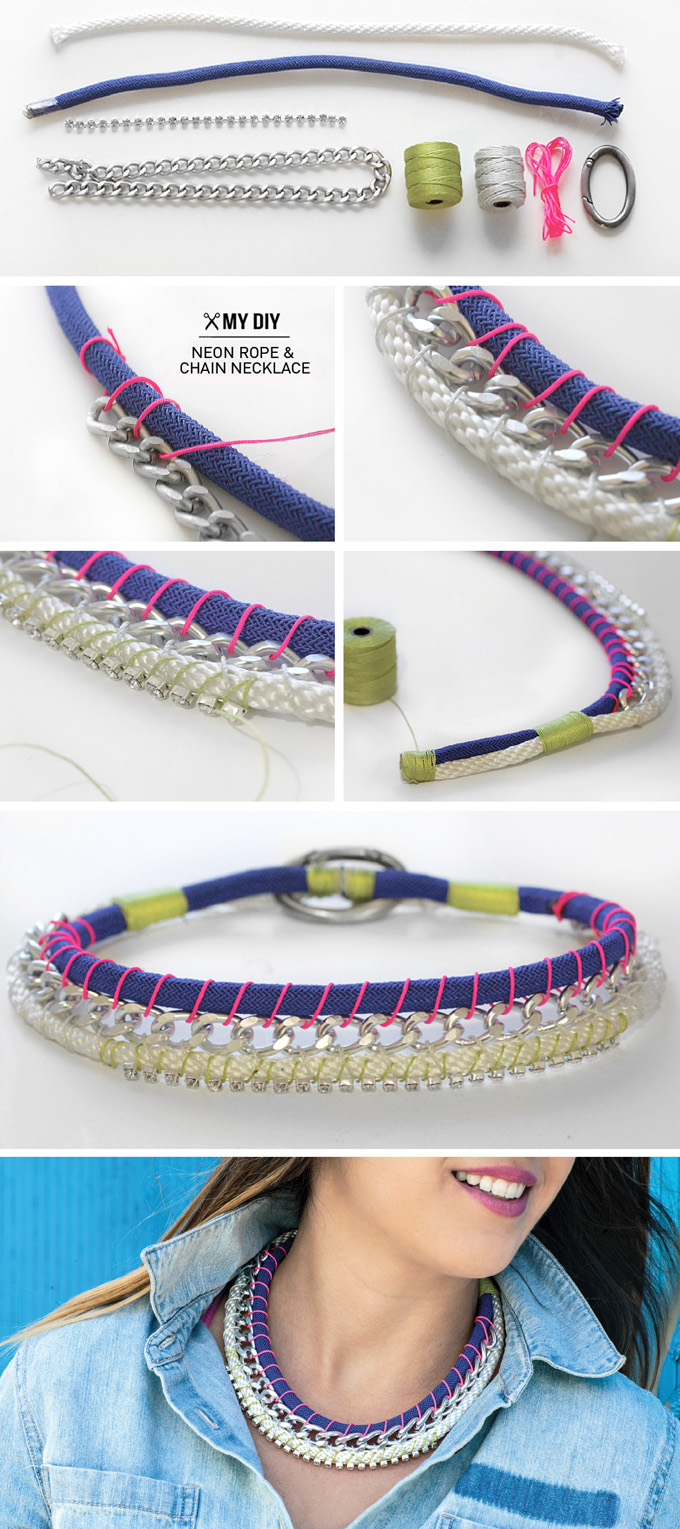 Neon-rope-and-chain-necklace