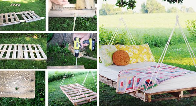 Outdoor Pallet Bed Swing