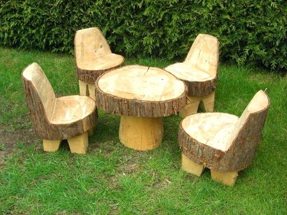 Tree Stump Table Chair Set