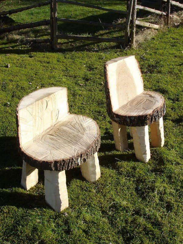 transform tree stump into chair table