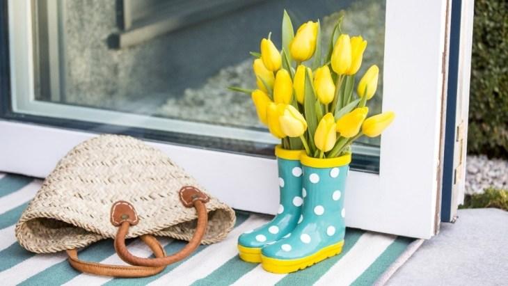 rubber shoes flower vase