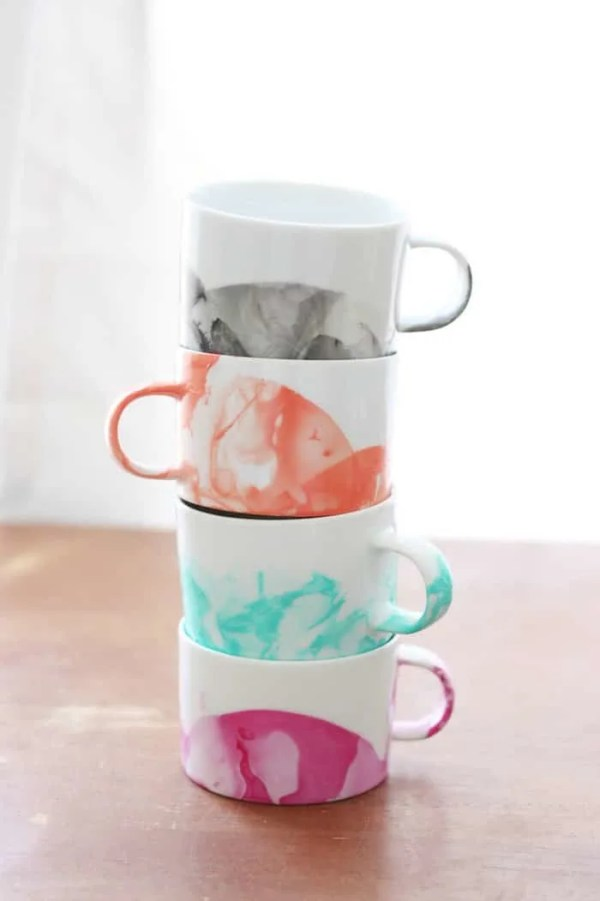 DIY Crafts for Adults Marbled Mugs