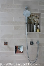 water efficient shower head, eco friendly, green tile