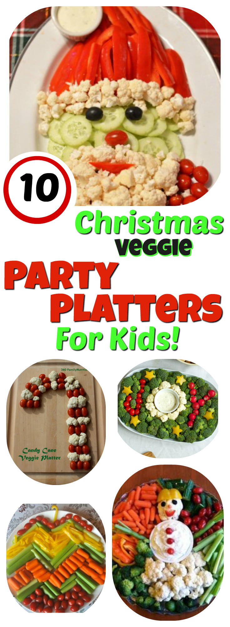 Veggie Platters for Kids 10 Christmas Party Trays