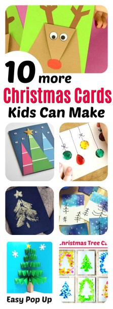 10 amazing Christmas cards kids can make for teachers, grandparents and friends! Super easy Christmas craft for kids of all ages, and very impressive looking! || Christmas Cards Kids Can Make: 10 More Inspiring Ideas! || Another fun Christmas post from Letters from Santa Holiday Blog