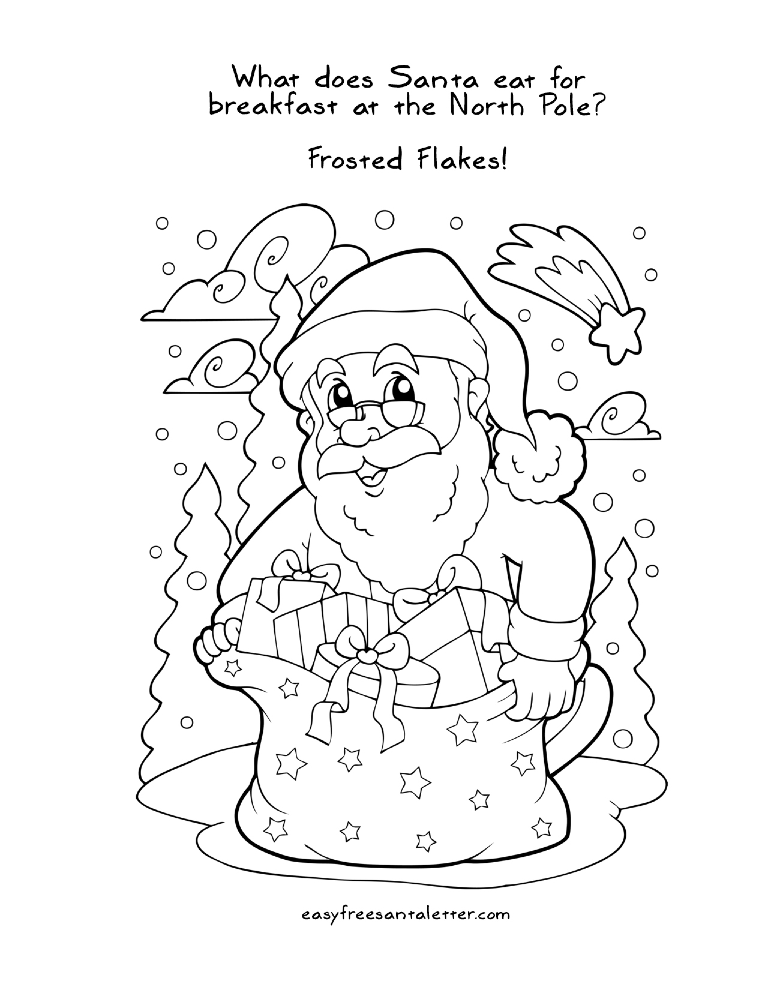 Free Printable Christmas Coloring Pages With Jokes