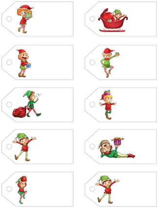 Christmas Elf Gift Tags Free Printable Templates - 3d House Drawing •