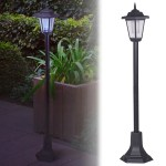 Solar Powered Garden Lights Lantern Lamp Black Led Pathway Driveway Outdoor Post Ebay