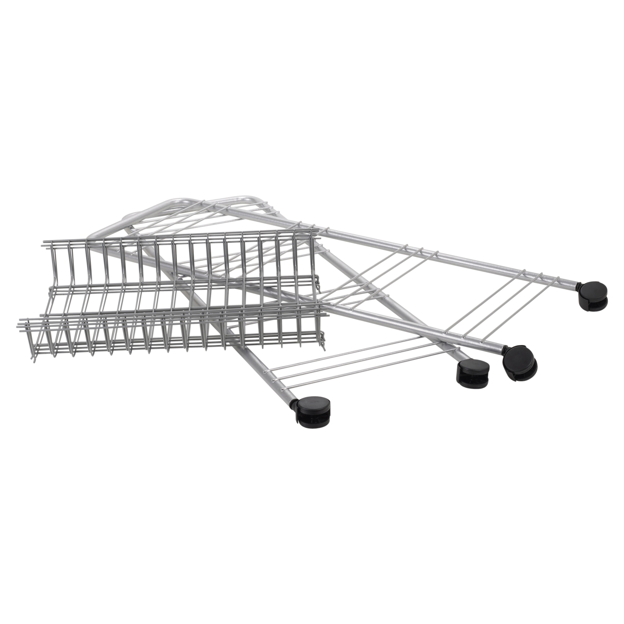 3 4 Tier Plastic Wheels Metal Frame Storage Trolley Basket