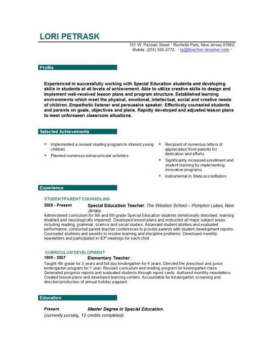Handwritten Resume Samples For Teachers Best Resume Examples