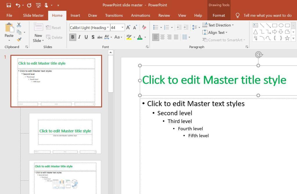 chang all slide master font color