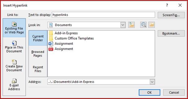 insert hyperlinks in powerpoint dialog box
