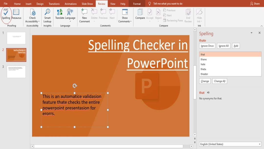 spelling checker in powerpoint