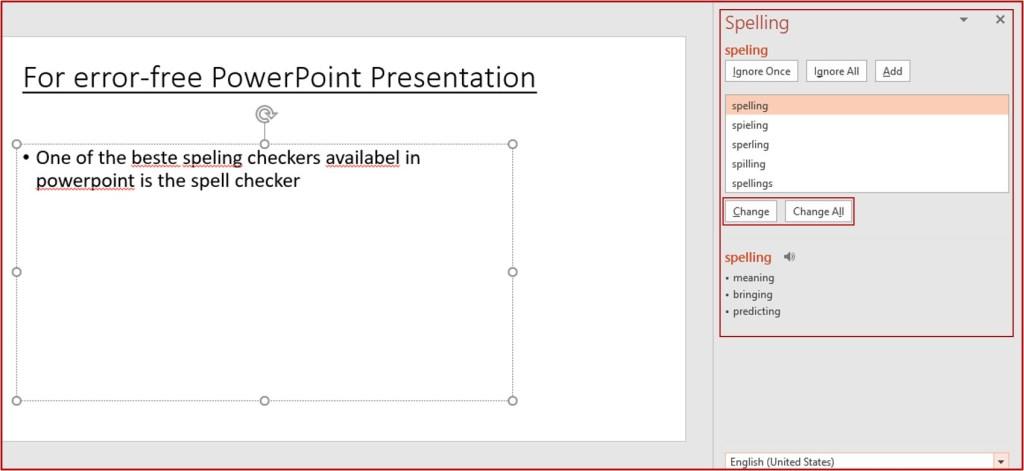 powerpoint spelling dialog box