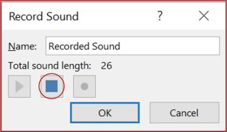 stop recording button on powerpoint