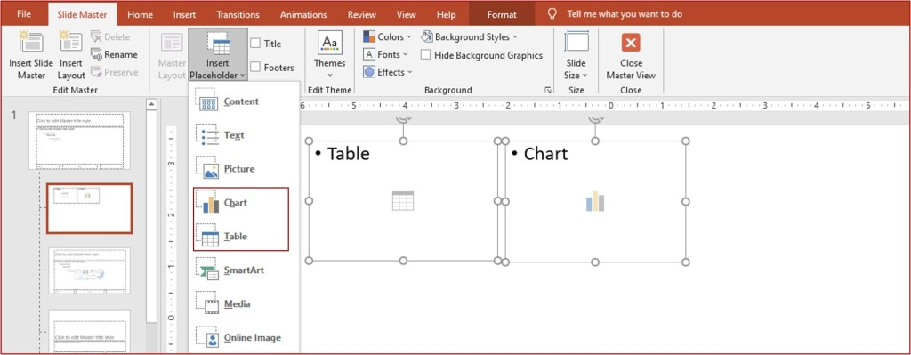 insert chart and table placeholder
