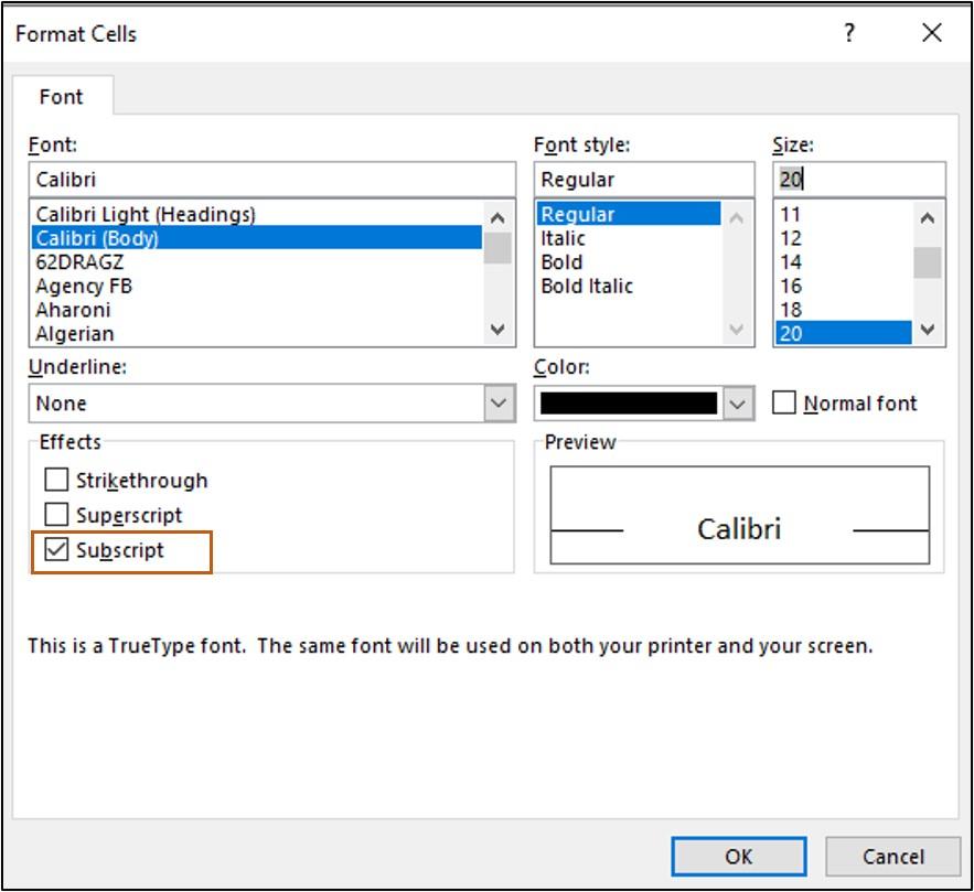 mark subscript in format cells