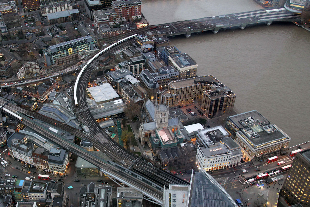 The present-day site of  Borough Market (from the Shard)