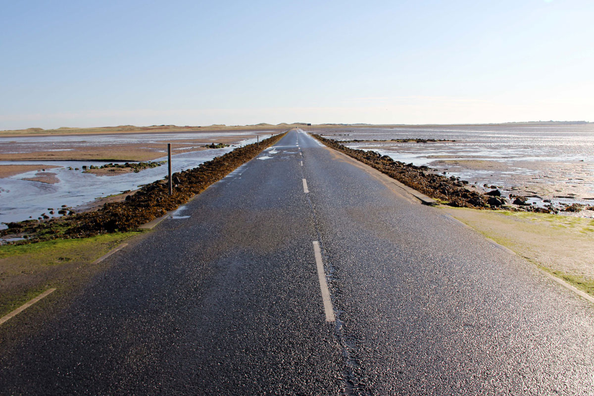 The Causeway to Lindisfarne at low tide