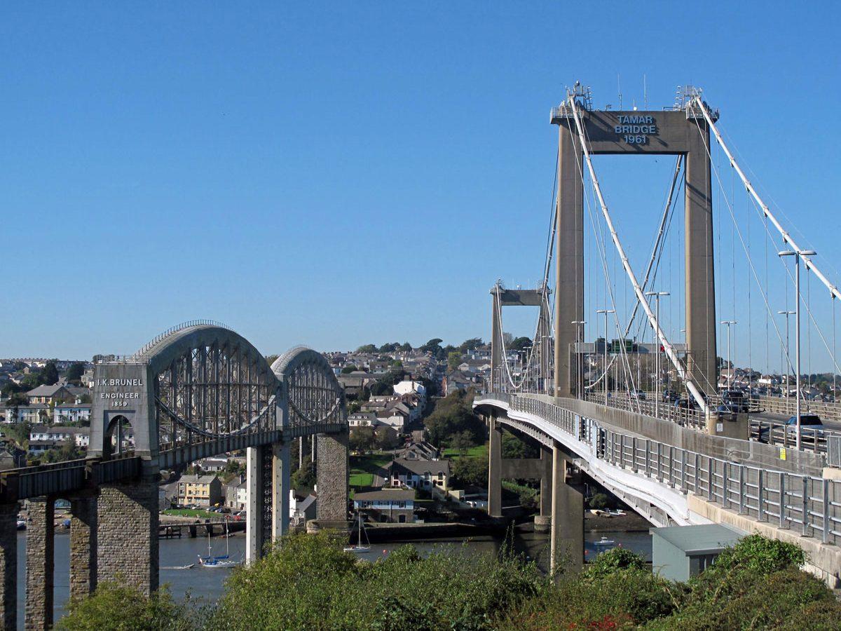 The Tamar Road Bridge and Brunel's Railway Bridge