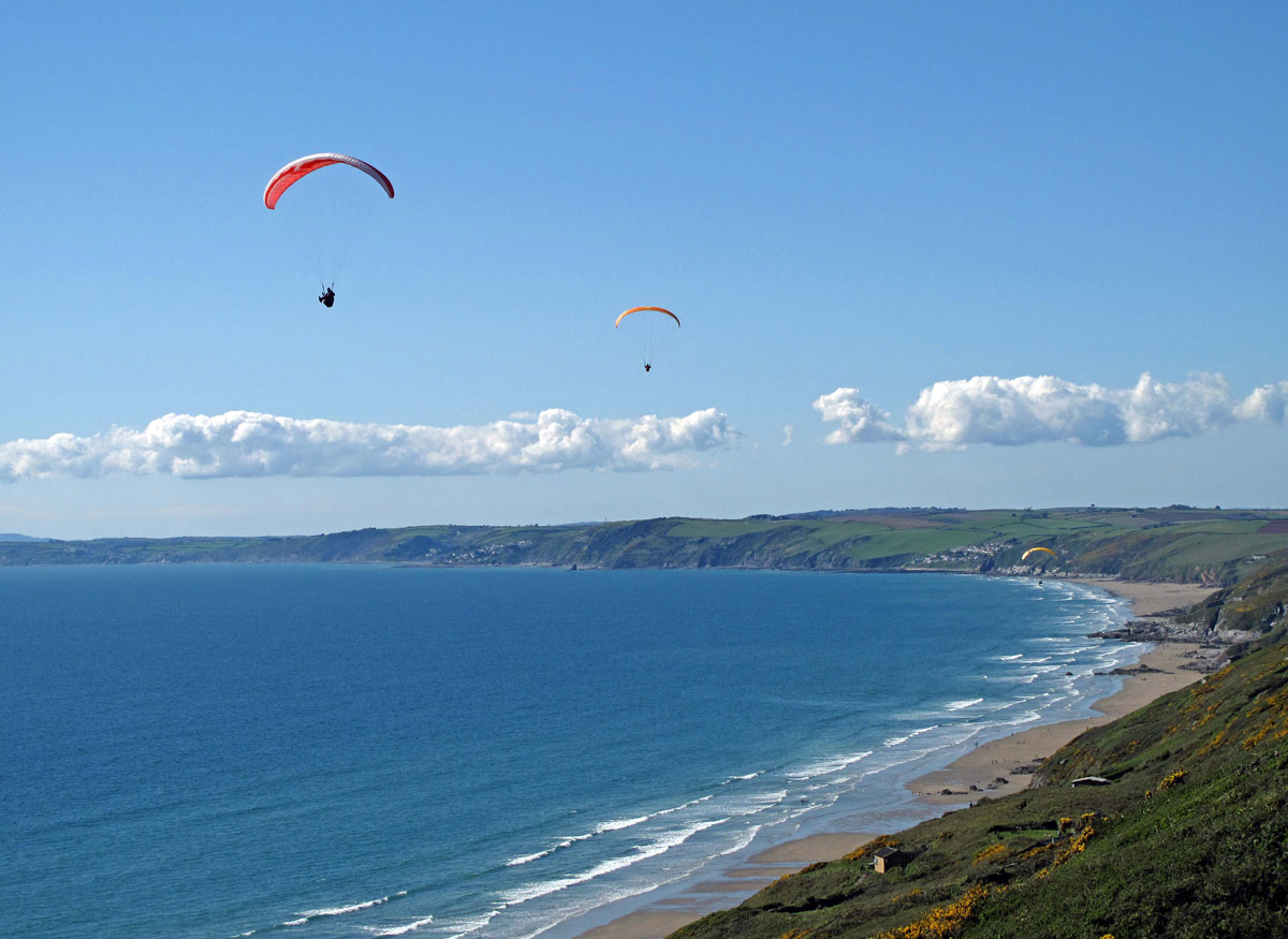 Hang Gliders over Whitsand Bay