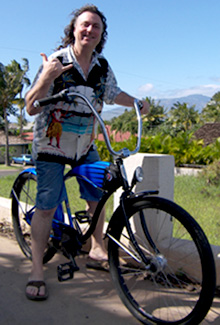 Howard Dinits Riding a bicycle in Maui Hawaii