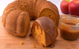Apple, Pumpkin bundt Cake with Caramel Sauce