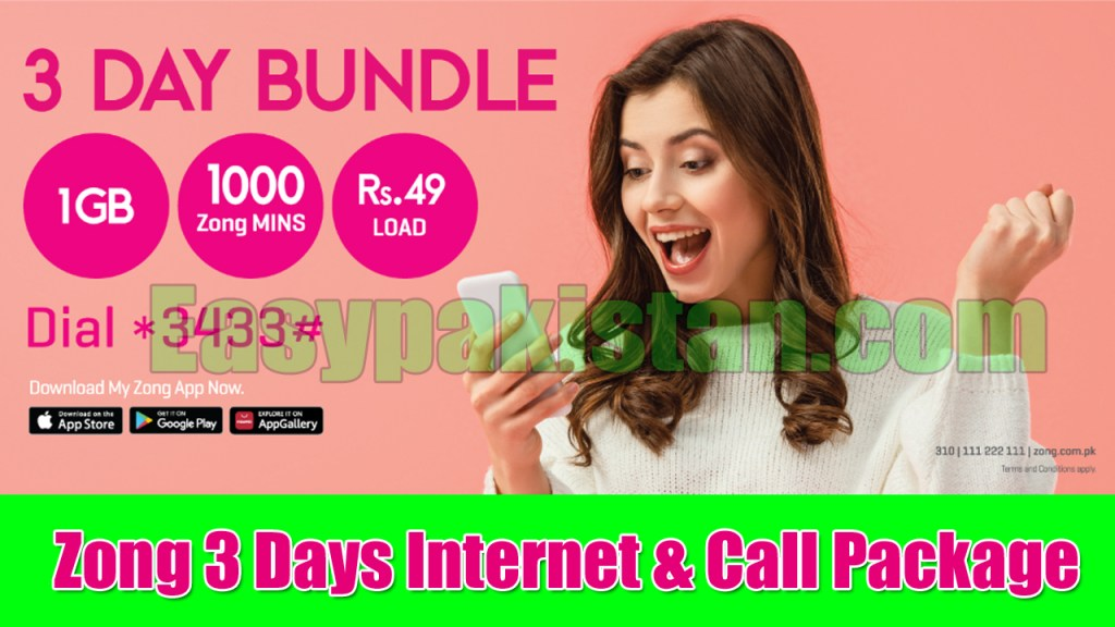 Zong 3 days internet package